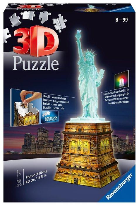 Puzzle 3d estatua de libertad night edition building 12596