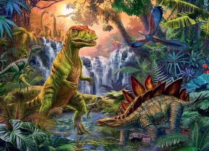 Puzzle ravensburger   xxl oasis de dinosaurios 100 piezas