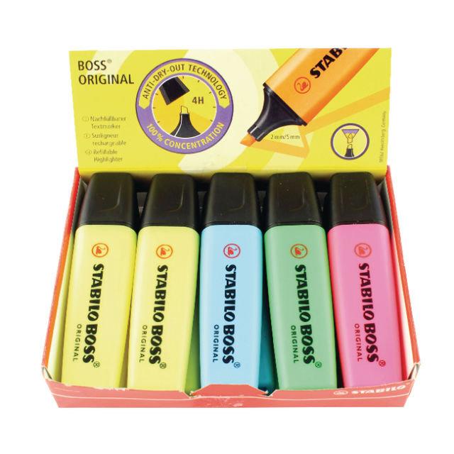 Marcador fluorescente stabilo boss original caja 10 uds