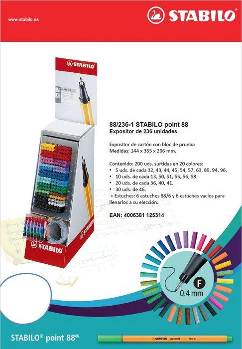 Rotulador stabilo point 88 expositor 200u + 6 estuches 88
