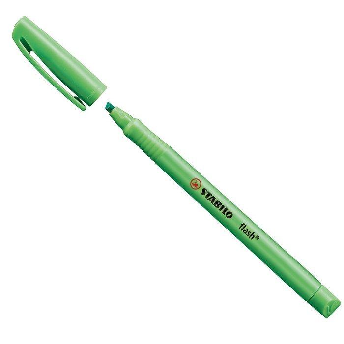 Marcador fluorescente stabilo flash verde