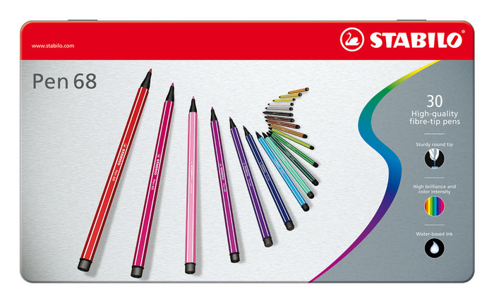 Rotulador stabilo premium pen 68 caja metal 30 colores surti