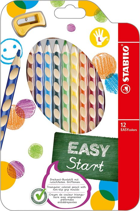Lapiz color ergonomico stabilo easy colors. 12 ud   zurdos +