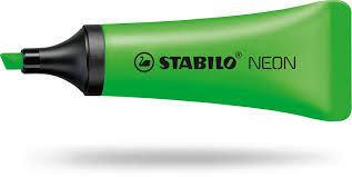 Marcador stabilo neon verde