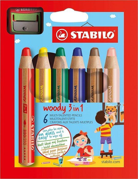 Lapiz stabilo woody 3 en 1 6 ud surtidos + sacapuntas woody