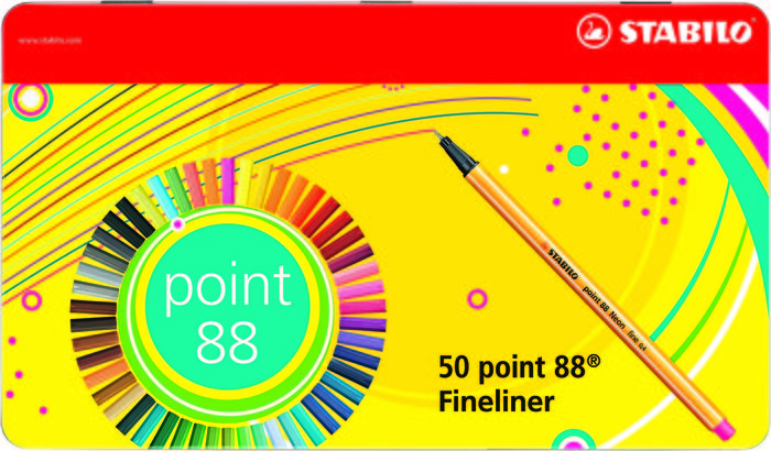 Caja metalica 50 rotuladores stabilo point 88