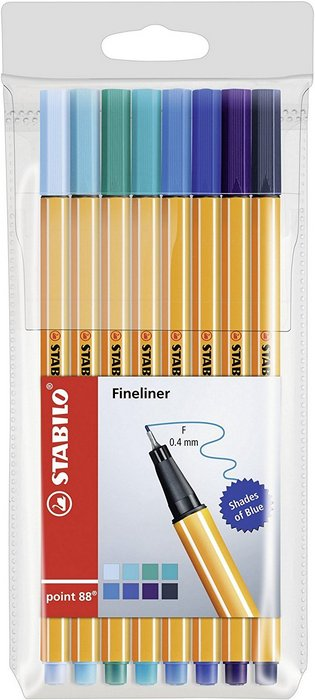 Blister rotulador stabilo point 88,8 colores shades of blue