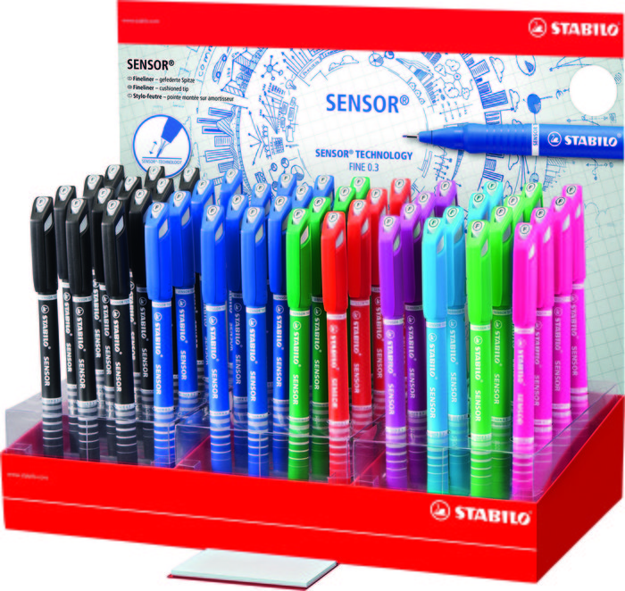 Expositor 48 rotuladores stabilo sensor 8 colores surtidos