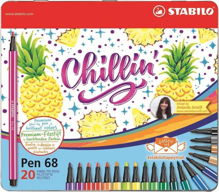 Stabilo pen 68 happy mail estuche metal 20 uds piÑa