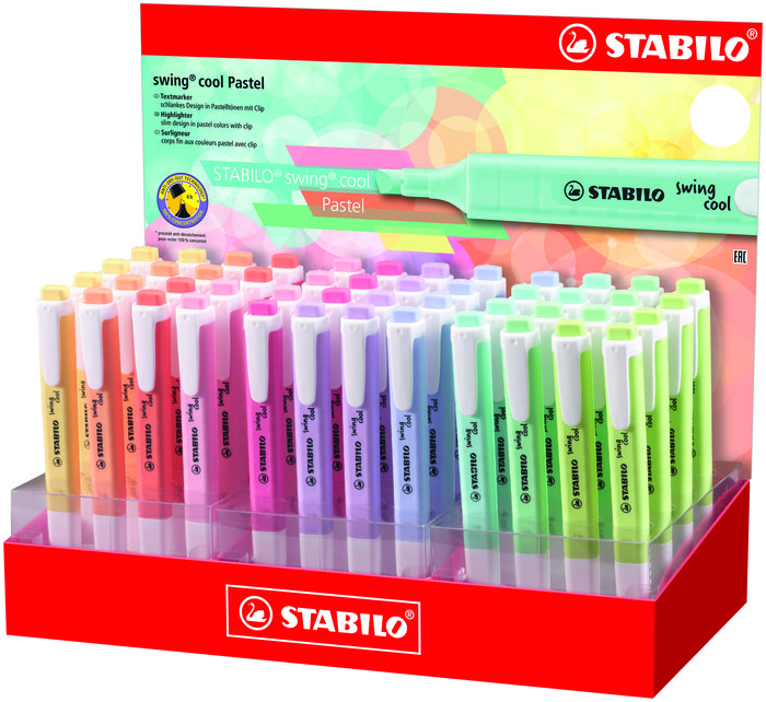 Expositor 48 rotuladores stabilo swing cool pastel