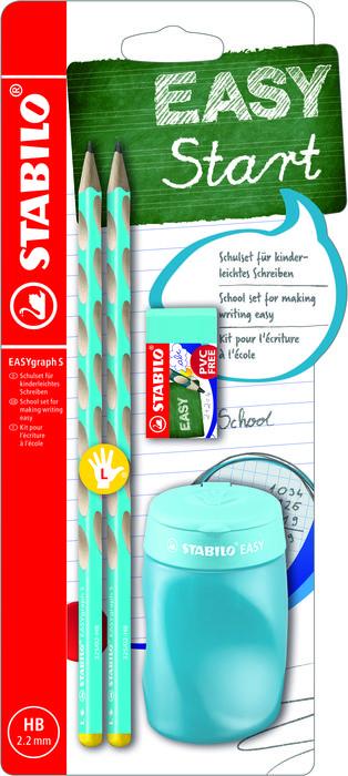 Blister easygraph zurdo 2 lapices+goma+afilalapiz azul