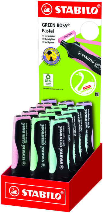 Expositor 15 rotulador stabilo green boss pastel