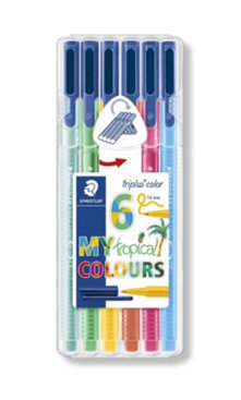 Rotuladores triplus fineliner 334 6 colores tropical