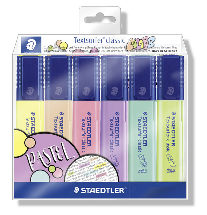 Marcador staedtler textsurfer 364 pastel 6 colores surtidos