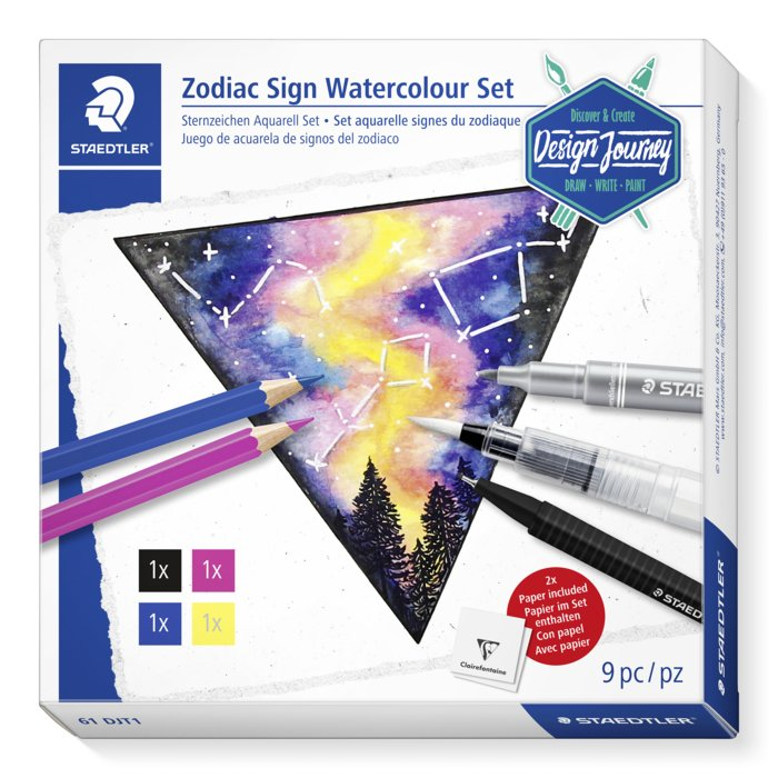 Set acuarelables staedtler desing journey zodiac sign