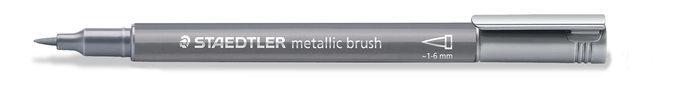 Marcador staedtler metallic brush 8321 plata