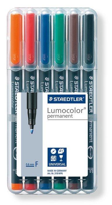 Rotulador lumocolor 318wp6 fino b/6 surtido