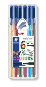 Rotuladores triplus fineliner 334 6 colores nature