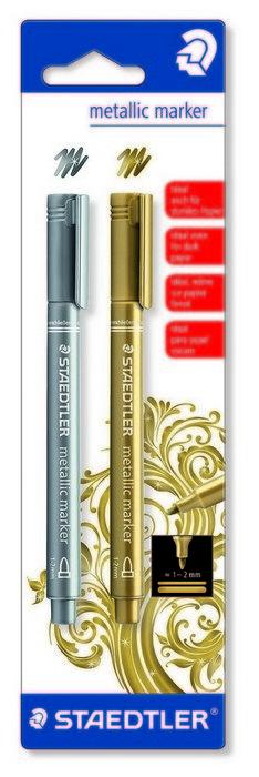 Marcadores metalizados oro y plata blister 2 uds