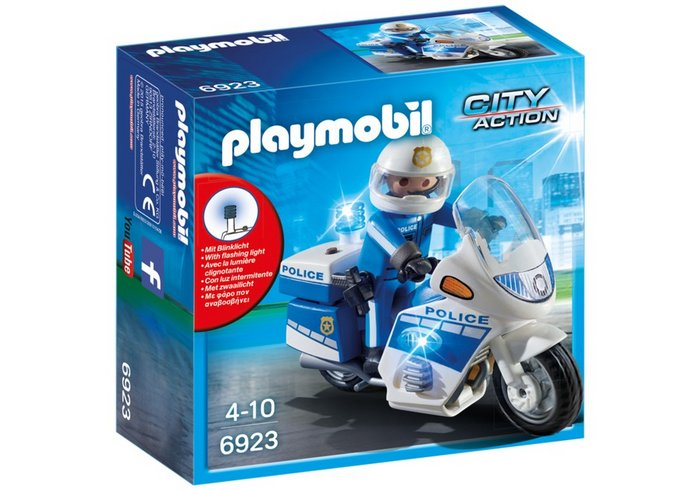 Playmobil policia con moto y luces led 6923