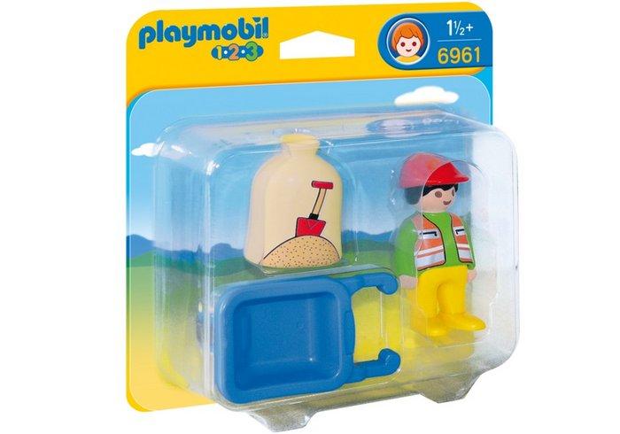 Playmobil 1.2.3 trabajador con carretilla 6961