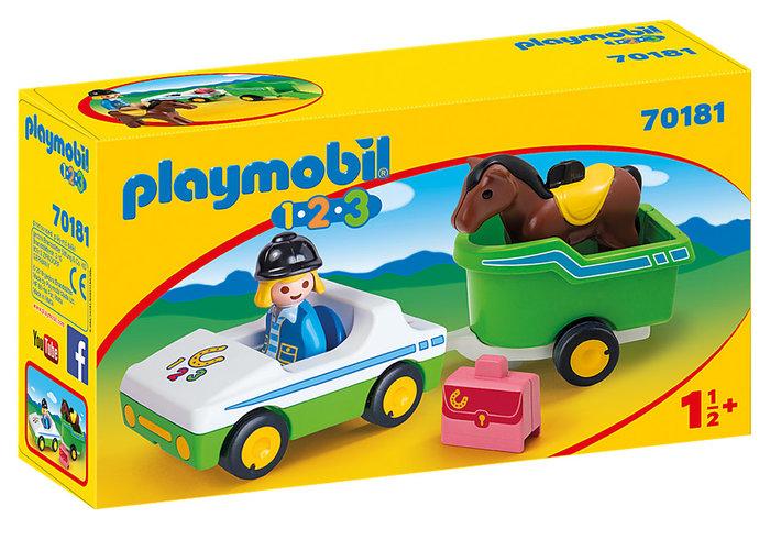 Playmobil 1.2.3 coche con remolque de caballo