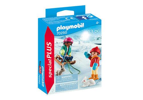 Playmobil niños con trineo