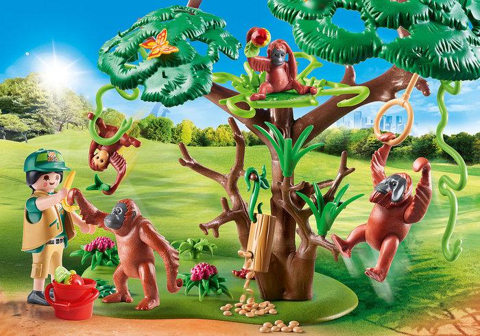 Playmobil orangutanes con arbol