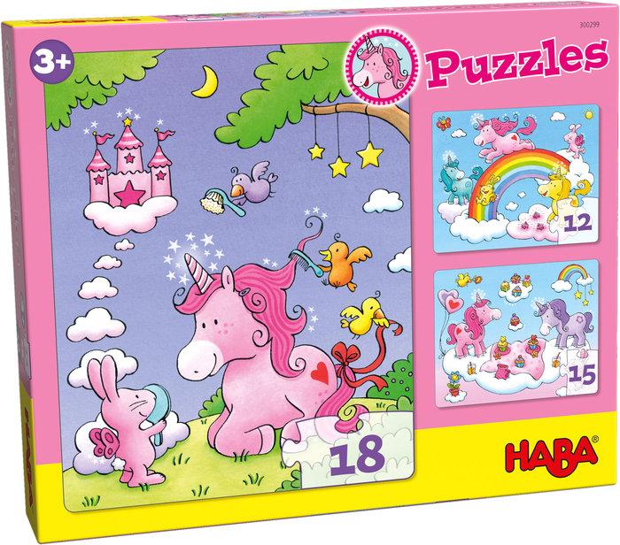 Puzzles haba unicornio destello evolutivos