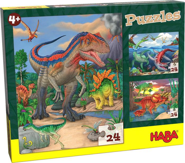 Puzzles haba  dinosaurios 3x24 p