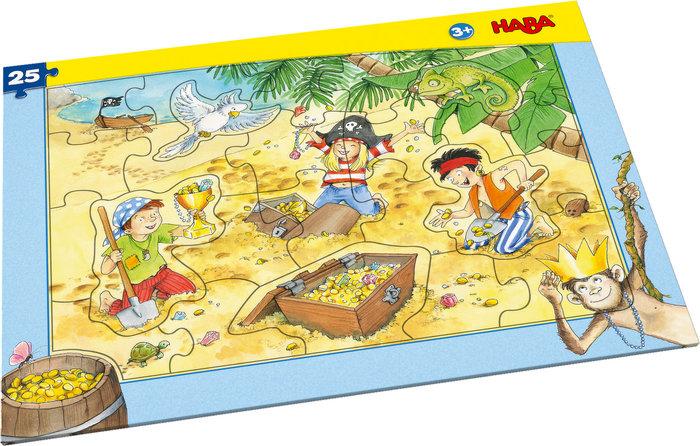 Puzzle haba en marco tesoro de piratas 25p