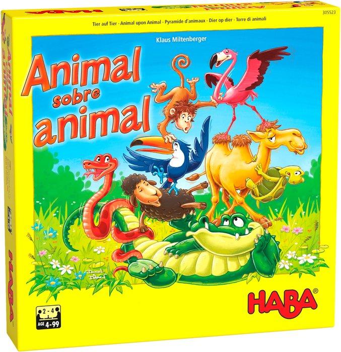 Juego animal sobre animal el tambaleante juego de apilar