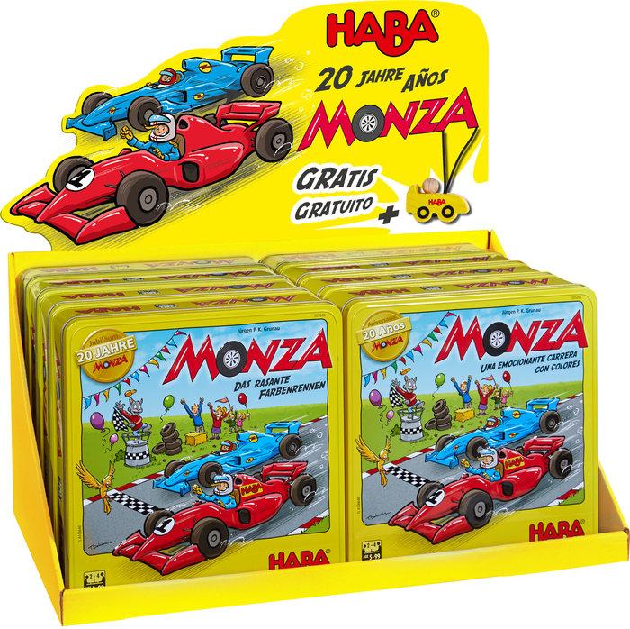 Expositor 8 juego haba monza 20 aniversario y 10 coches monz