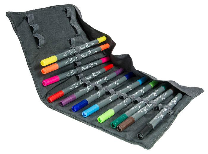 Rotuladores callibrush 11 colores surtido 19048 estuche rulo