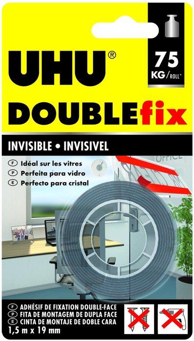 Cinta doble cara uhu 1,5 mts invisible interior/exterior