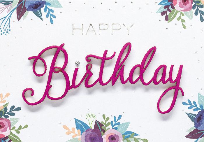 Tarjeta happy birthday flores