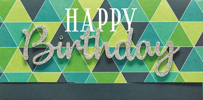 Tarjeton y sobre birthday verde