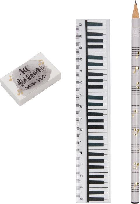 Set lapiz goma y regla musical
