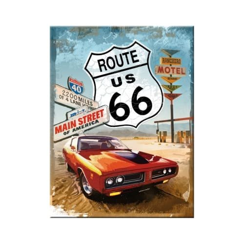 Iman 6x8 cm us highways route 66 red car