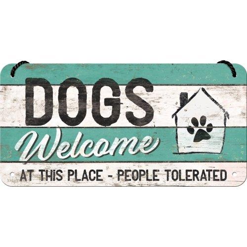 Letrero colgante 10x20 cm pfotenschild - dogs welcome