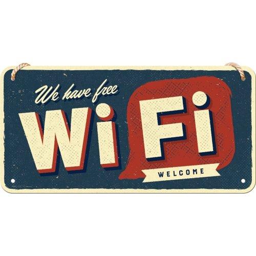 Letrero colgante 10x20 cm achtung free wi-fi