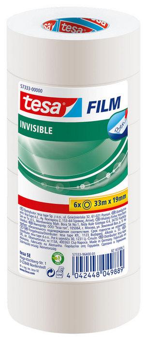 Cinta adhesiva 33x19 tesafilm invisible 6unid