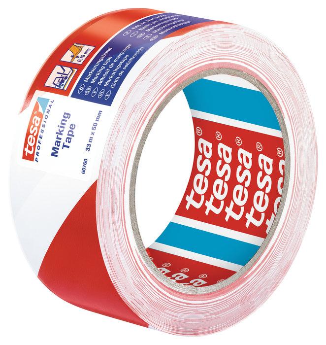 Cinta seÑalizacion adhesiva temporal 50mm rojo/blanco