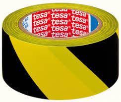 Cinta señalizacion adhesiva temporal 50mm amarillo/negro