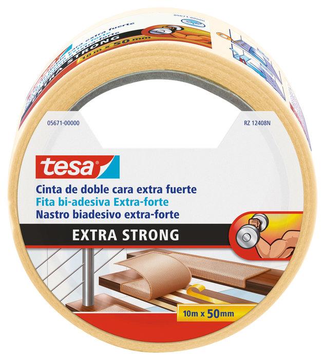 Cinta doble cara extra fuerte 10m x 50mm beige  moquetas
