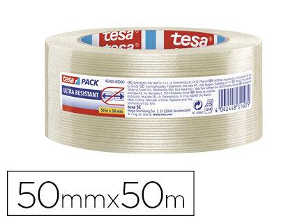 Cinta tesapack monofilamentos con etiqueta 50mx50mm