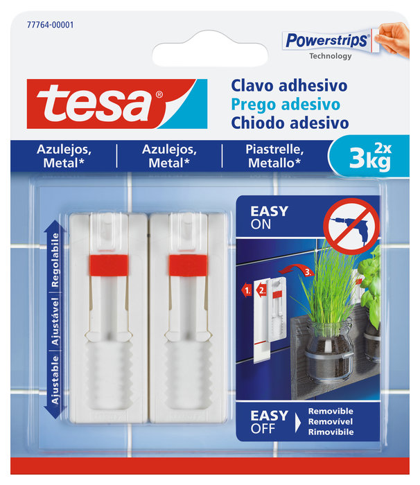 Clavo adhesivo tesa ajustable hasta 3kg para azulejos