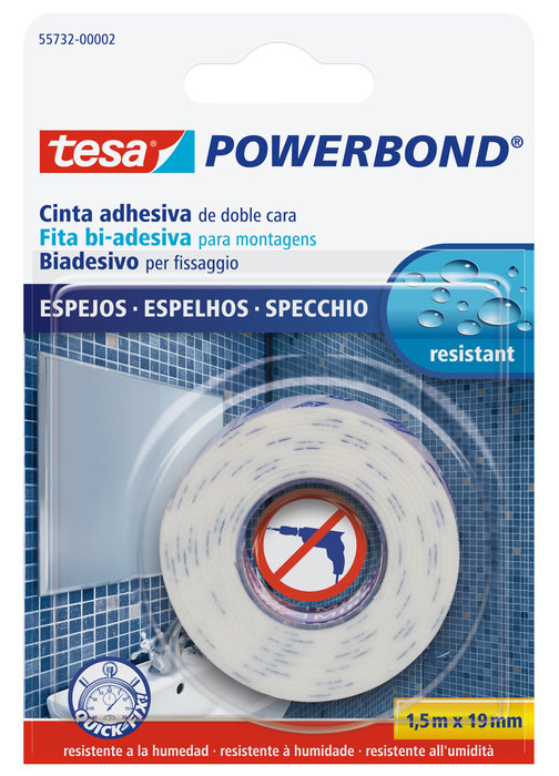 Cinta adhesiva tesa doble cara powerbond espejos 1,5m x 19mm