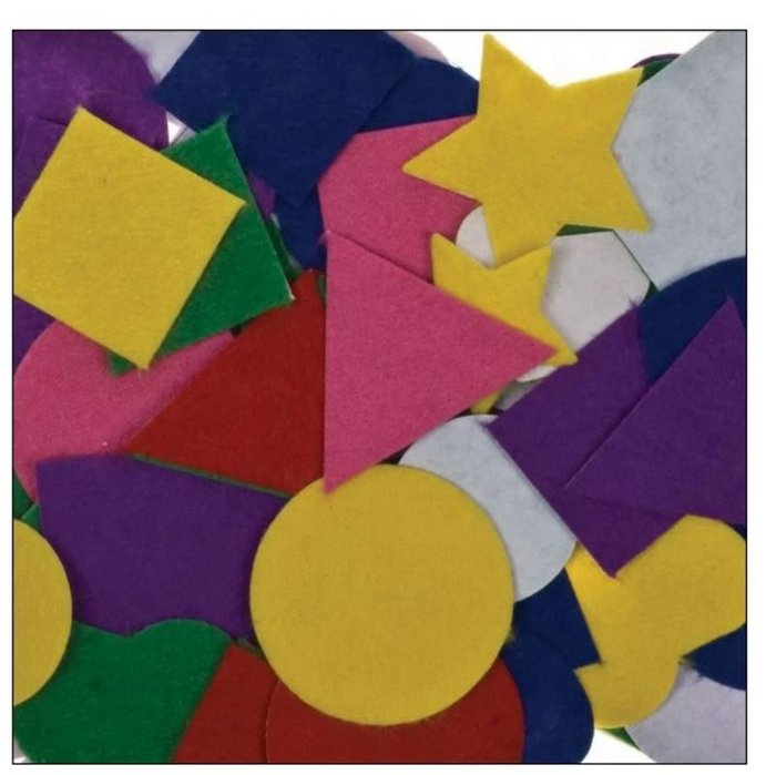 Figuras fieltro adh formas colores surt 100 pzas