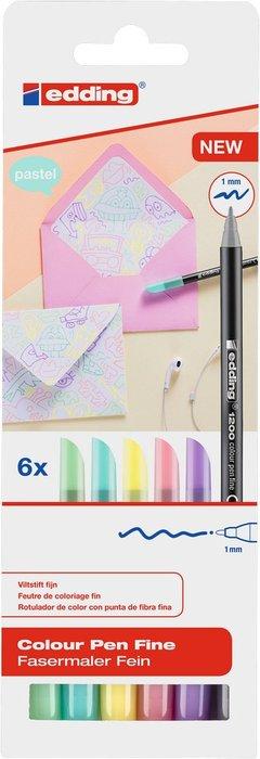 Rotulador edding 1200 estuche 6 colores pastel